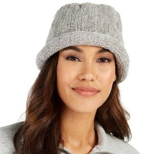 August Hat Gray-Silver Roll Up Beanie  - NWT